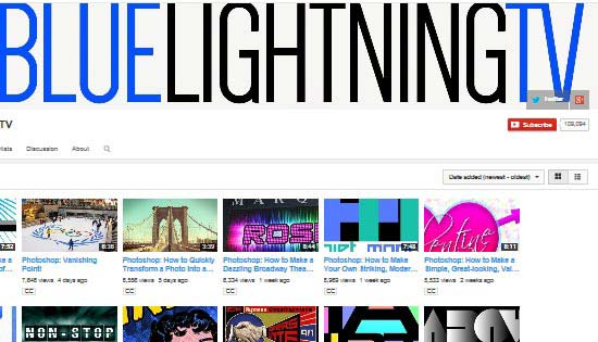 Blue Lightning TV Photoshop Tutorial Channel