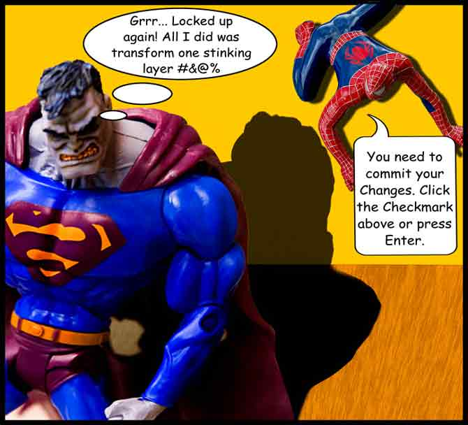 Bizarro Superman mad because his Photoshop screen is locked