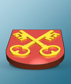 3d Swiss Double-Key Coat of Arms