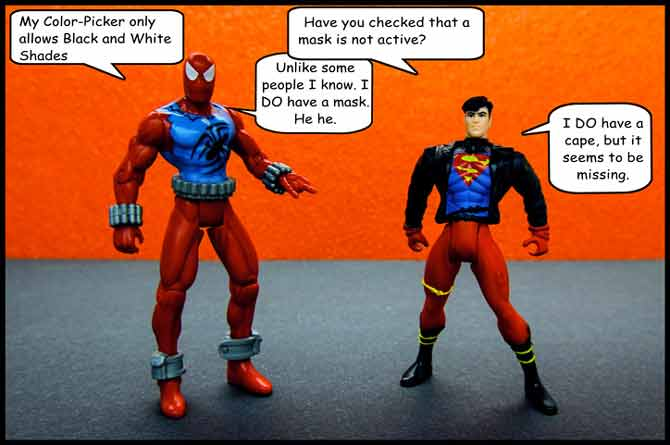 Spidey and Superboy cannot pick colors