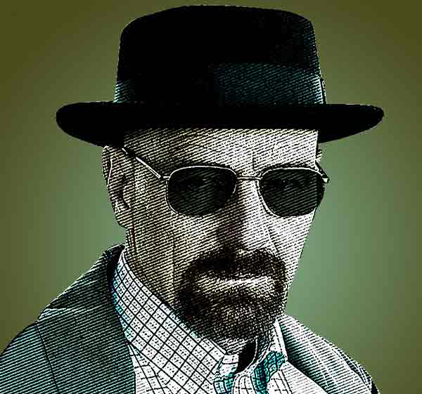 Heisenberg picture with woodcut effect