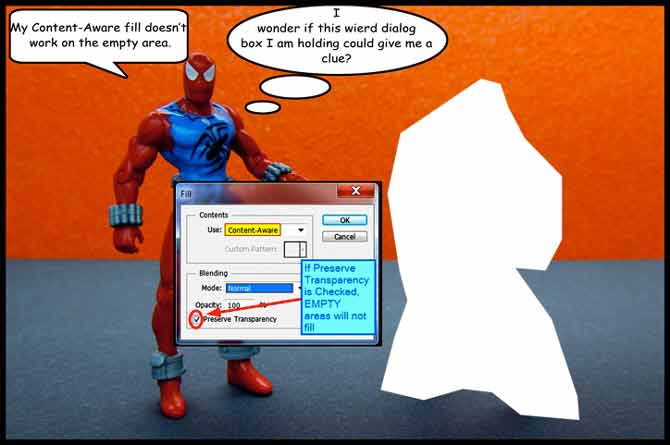Spidey confused about content-aware fill not working on transparent areas